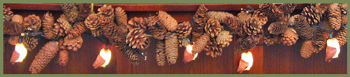 Horned Brown Owl String Lights & Pine Cone Garland