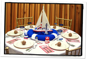 Nautical Round Banquet Table Decorations