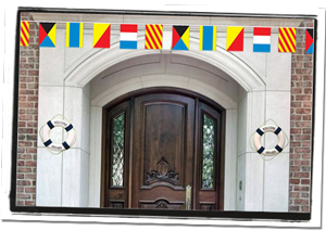 Nautical Life Rings & Flag Banner Entrance