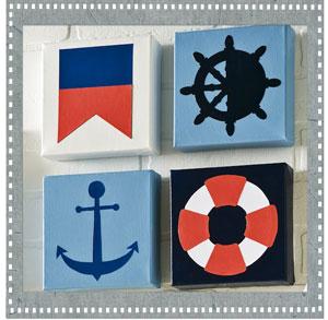 DIY Mod-Podge Nautical Cut-outs on Canvas
