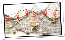 Nautical Net With Starfish & String Lights