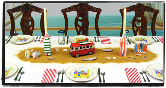 Beach Surfer Bus & Cabanas Ocean Themed Centerpiece