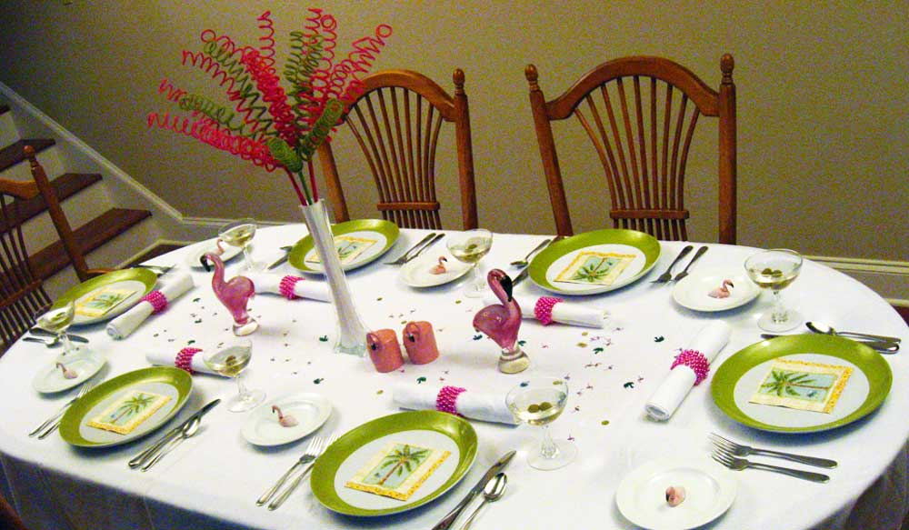 Palm Tree Amp Pink Flamingo Centerpiece Dinner Party