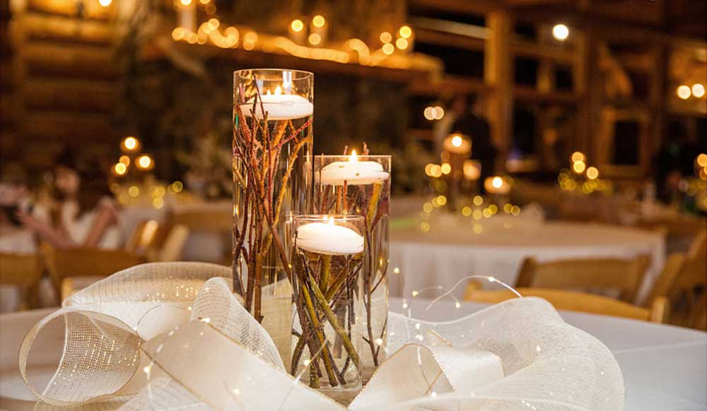 Submerged Twigs & Floating Candle Centerpiece