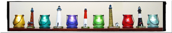 Lighthouse and Votive Candle Holders Ligiting