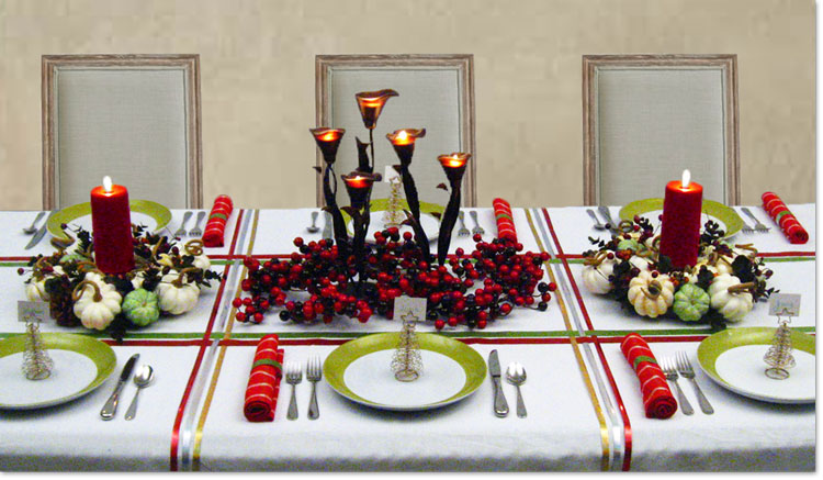 holiday dinner table decorating christmas centerpieces winter decorations - Green Christmas Table Decorations