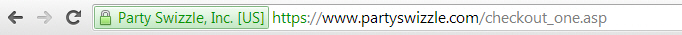 SSL Certificate Address Bar For PartySwizzle.com