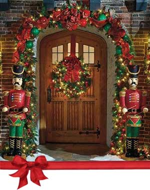 Nutcracker Christmas Theme Front Door Entrance