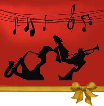 Jazz Muscians & Musical Notes Silhouette