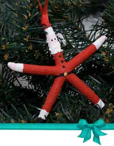 Starfish Santa Claus Coastal Christmas Tree Ornament