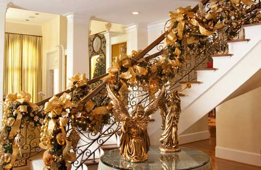 Opulent Gold Christmas Staircase