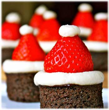 Santa Hat Brownies Christmas Sweets