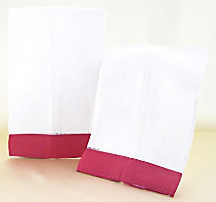 Decorative White Hand Towels With Raspberry Border (2)