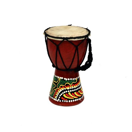 Rustic Djembe Painted Tribal Drum - 6