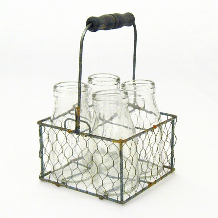 Gray Zinc Wire Milk Jar Caddy With Wood Handle