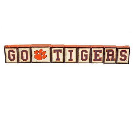 Clemson University GO TIGERS Wood Letter Blocks