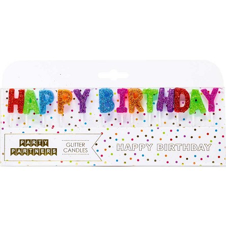 Glittered HAPPY BIRTHDAY Letter Candles