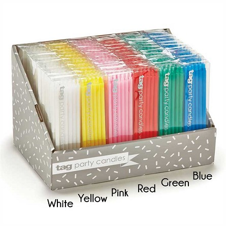 "7"" Mini Taper Birthday Party Candles (12) - 6 colors"