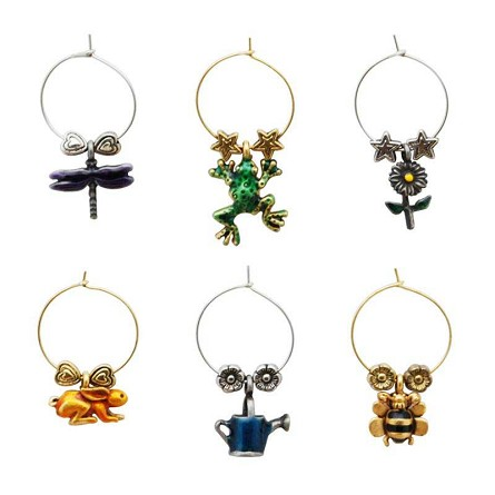 Buds & Bugs Garden Themed Wine Charms (6)