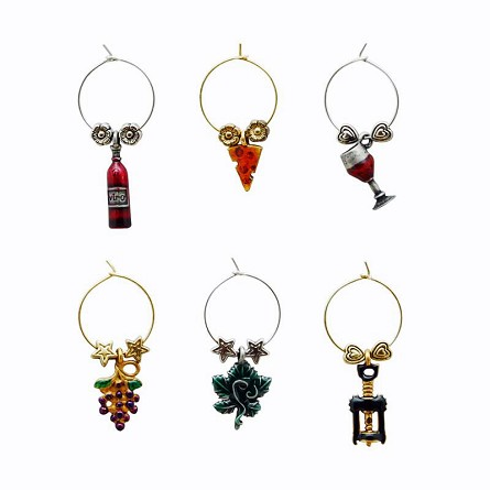 Wine & Vineyard Themed Wine Charms (6)