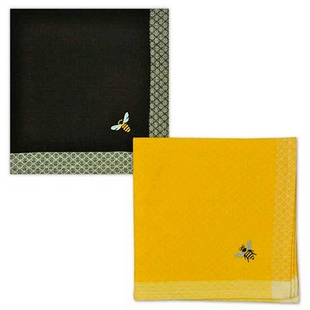 Embroidered Honey Bee Napkin - Black or Gold