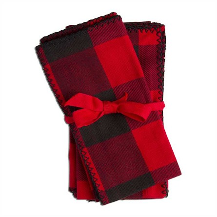 100% Cotton Red & Black Check Flannel Napkins - Set of 4