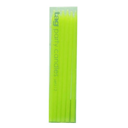 "6"" Kiwi Green Mini Taper Birthday Party Candles (12)"