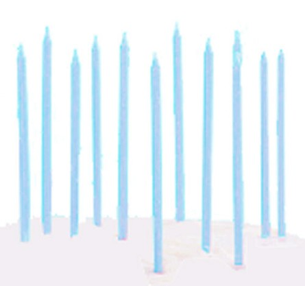 "6"" Light Blue Mini Taper Birthday Party Candles (12)"