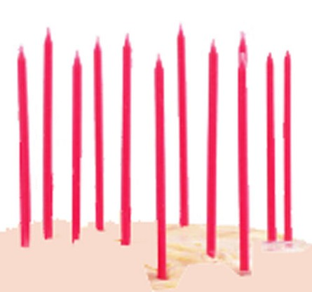 "6"" Pink Mini Taper Birthday Party Candles (12)"