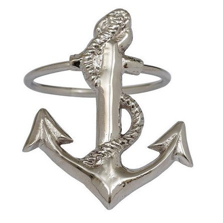 Navy Anchor Polished Silver Finish Napkin Ring