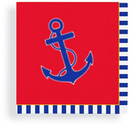 Nautical Chic Red, White & Blue Anchor Beverage Napkins