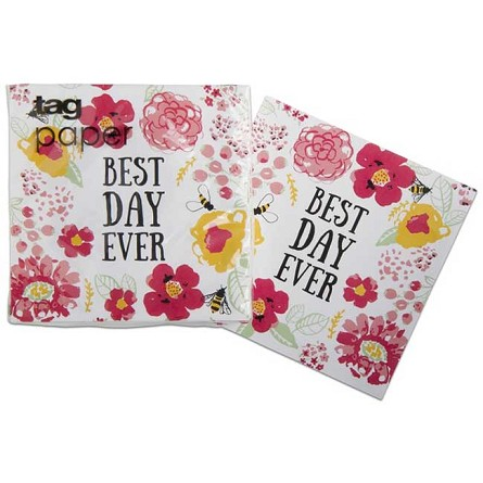 Watercolor Flower Garden BEST DAY EVER Beverage Napkins (20)