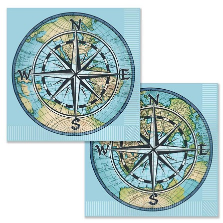 Compass Rose World Globe Luncheon Napkins (16)