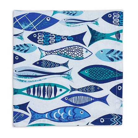 100% Cotton Greek-Isle-Inspired Idiosyncratic Fish Napkins