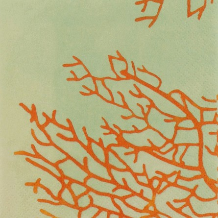 Orange Branch Coral On Sea Foam Green Beverage Napkins (24)