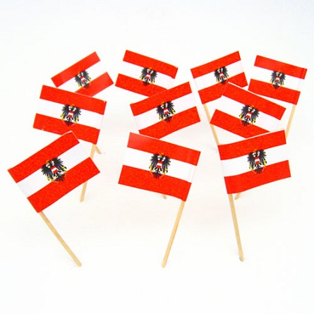 Austria | Austrian Flag With Coat of Arms Toothpicks (100)