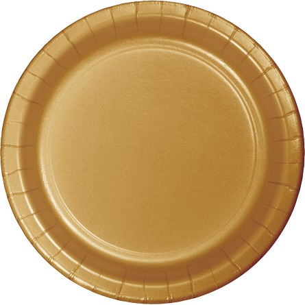 Glittering Gold Round Paper Plates (24) - 2 sizes