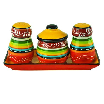 Ceramic La Cocina Fiesta Striped Condiment Caddy