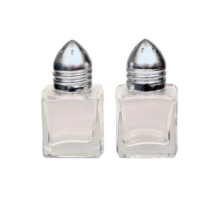 "2"" Glass Salt & Pepper Shakers With Metal Tops"