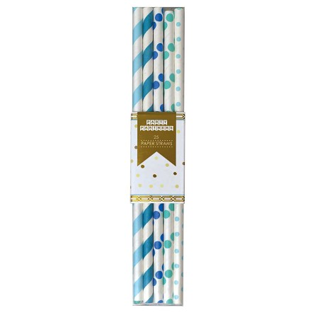 Teal, Blue & Turquoise Spiral & Dot Paper Straws (25)