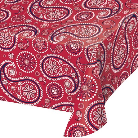 Red Paisley Plastic Tablecover