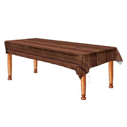 Wood-Grain Plastic Tablecover