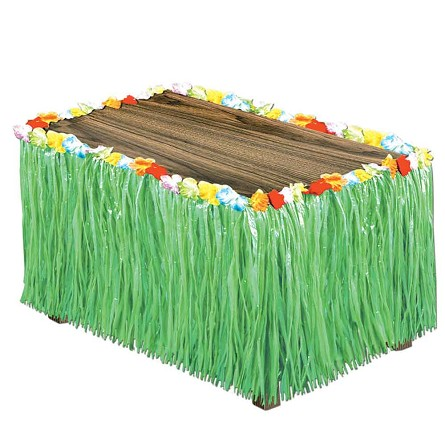 9' Green Plastic Grass & Hibiscus Table Skirt