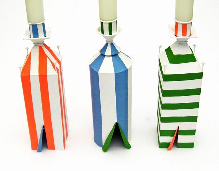 Striped Beach Cabana Candleholder - 3 styles