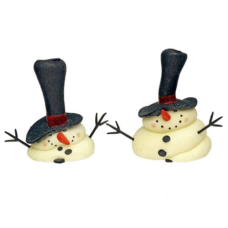 "7"" Melting Glittered Snowman Candles - Set of 2"
