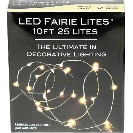 10' White LED Fairy Lights (25) - Battery Operated