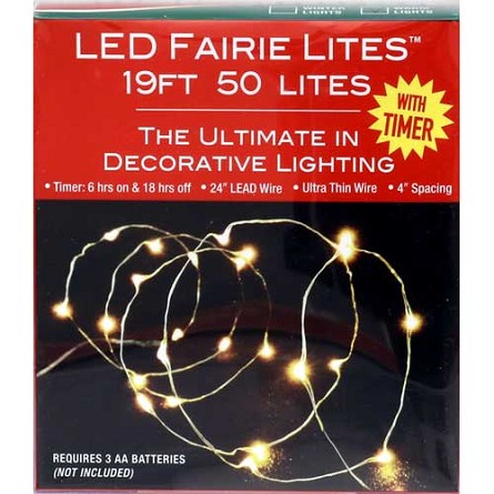 19' White LED Fairy Lights (50) - Battery Operated