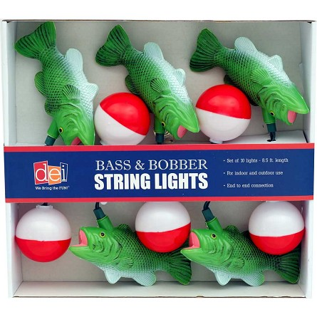 Largemouth Bass & Fishing Bobber String Lights
