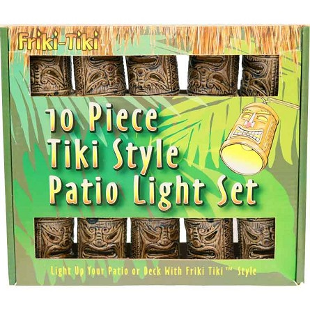 Bamboo-Style Tiki God Mask Patio String Lights