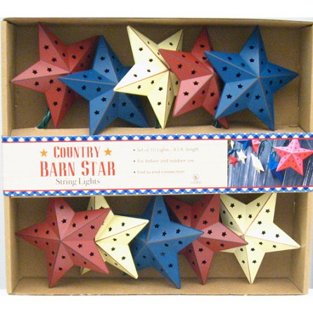 Americana Red, White & Blue Barn Star String Lights